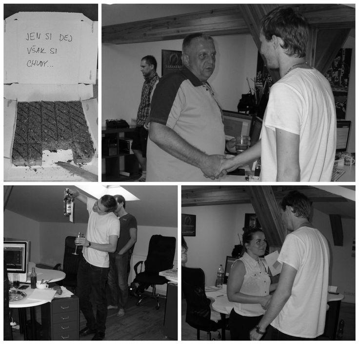 Tentokrát s námi své narozeniny oslavil náš grafik Lukáš. Zákusek, přípitek, dárečky a gratulace od celého týmu samozřejmě nechyběly. :-)