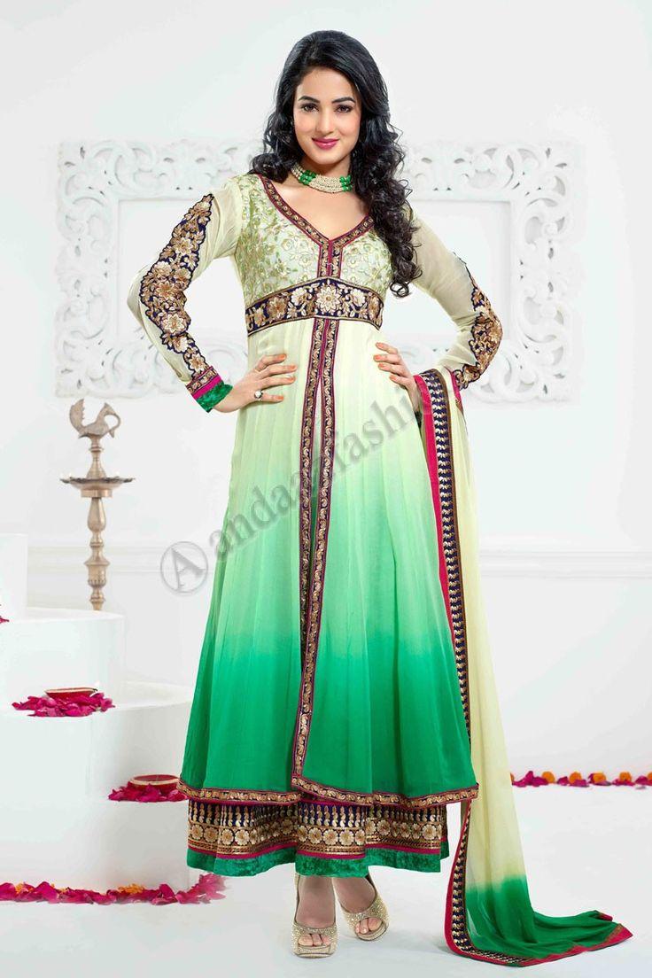 Cream Green Georgette Anarkali Churidar Suit   Design No. DMV13142 Price:- £55.00 Dress Type:Anarkali Churidar Suit Fabric:Georgette Colour:             Cream with Green Embellishments: Stone, Zari, Zircon, Full Sleeve Kameez For More Details:- http://www.andaazfashion.co.uk/cream-green-georgette-anarkali-churidar-suit-with-cream-green-chiffon-dupatta-dmv13142.html