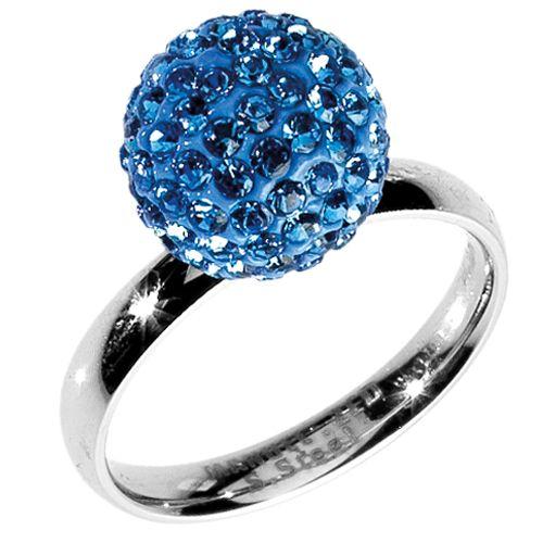 Anello in acciaio con pallina con strass blu - disponibile in vari colori