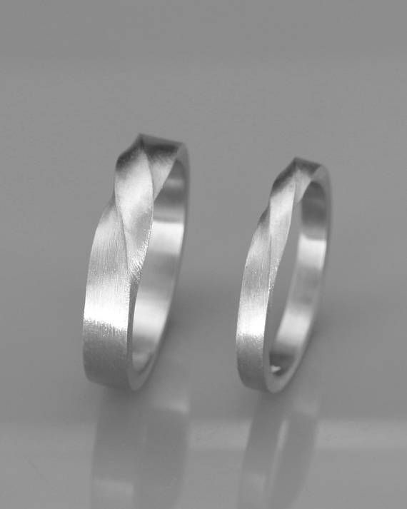White Gold Mubius Rings | His and Hers Mobius Wedding Bands set | 14k White Gold…