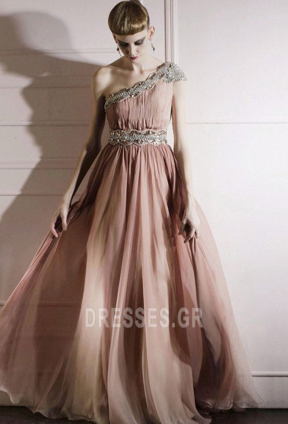 Ρομαντικό Πλισέ Φυσικό Σιφόν Ορθογώνιο Μήκος πατωμάτων Βραδινά φορέματα - Σελίδα 1
