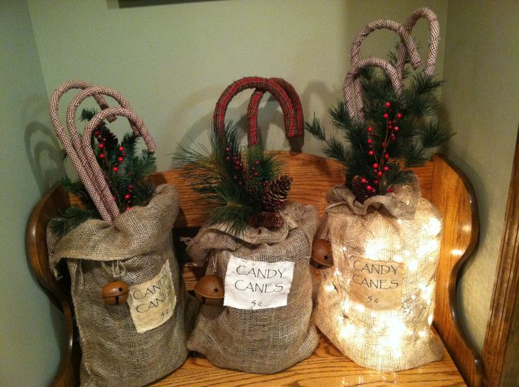 Candy cane burlap bags 25 with mini led lights added or for Decorative burlap bags