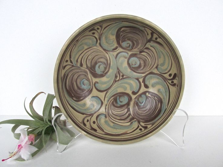 Vintage Rex Fayance Egersund Norge Norway Pottery Bowl, Blue And Brown Swirled Scandinavian Pottery Art Dish by HerVintageCrush on Etsy