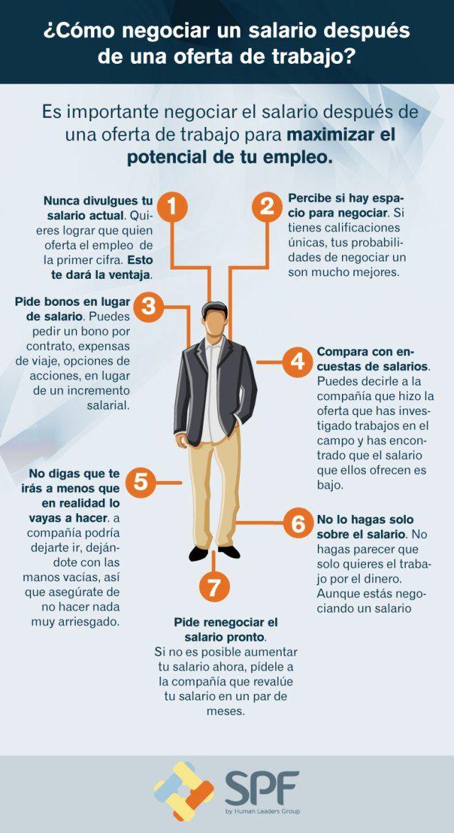 Cómo negociar un salario después de una oferta de trabajo #infografia #infographic #empleo
