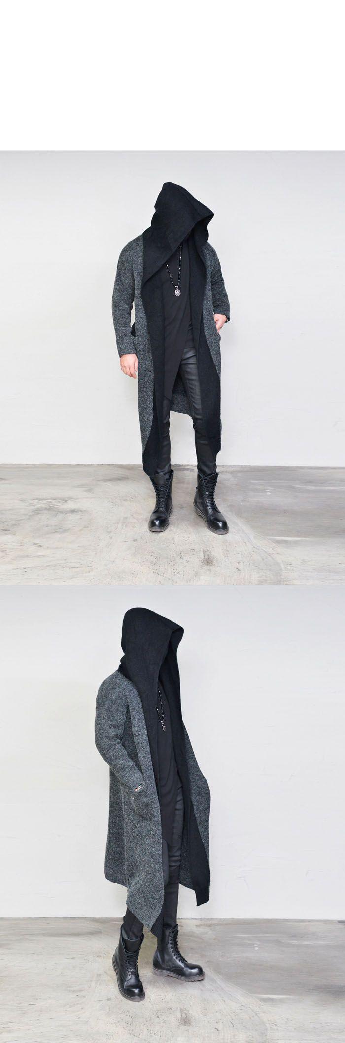Contrast Hooded Wool Long-Cardigan 208 - GUYLOOK