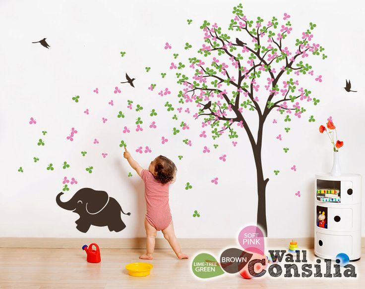 Baby Kinderzimmer Wandtattoo - Baum Wall Decal Elefant Aufkleber Baum Wand Wandbild Aufkleber Dekoration - Large: ca. 83 x 53 '' - KC033 von WallConsilia auf Etsy https://www.etsy.com/de/listing/168665429/baby-kinderzimmer-wandtattoo-baum-wall