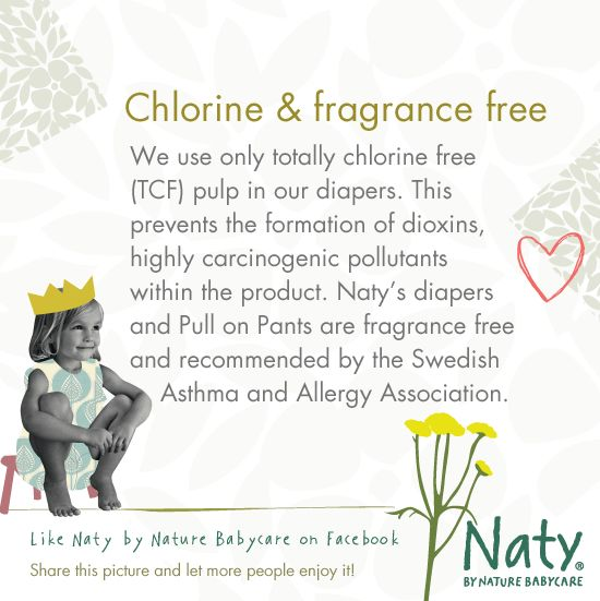 Chlorine and fragrance free  Do you know if your baby has chlorine free diapers - Yes or No?   Read more here: http://www.naty.com/baby-care/our-products/   #eco #organic #diapers #nappies #diaper #nappy #chlorinefree #fragrancefree