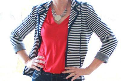 Girls in the Garden: Navy Stripe Blazer and Red Jersey Top
