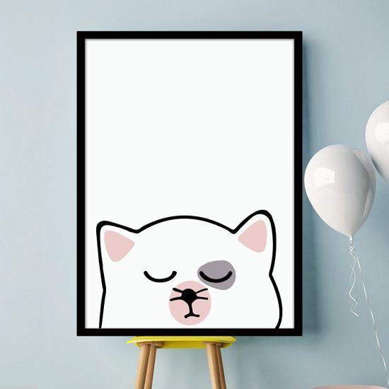 Αφίσα με γάτα για το παιδικό δωμάτιο.