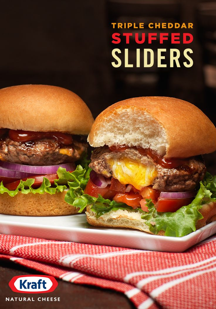 When you make delicious cheese for 100+ years, you learn a lot about what people want, like these rich, sharp, creamy Triple Cheddar Stuffed Sliders. With ground beef, a few classic toppings, & KRAFT Finely Shredded Triple Cheddar, they're an easy way to turn your backyard bbq into a Memorial Day bash. http://www.kraftrecipes.com/recipes/triple-cheddar-stuffed-sliders-195533.aspx