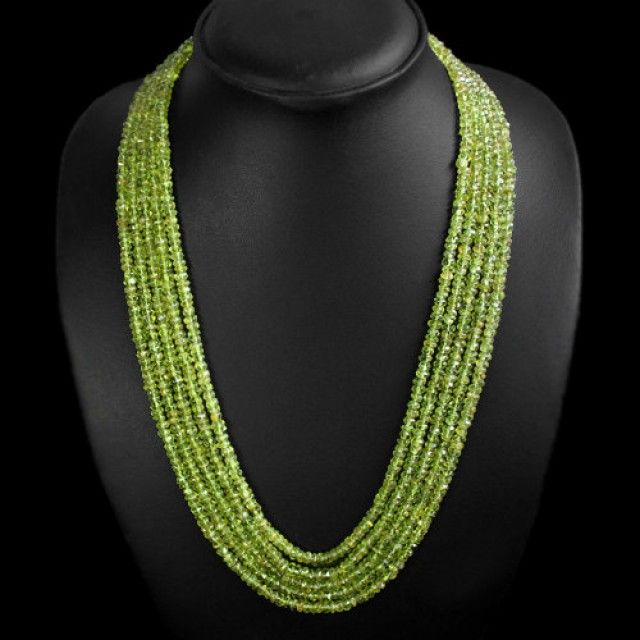 Green Peridot Necklace 5 Line Faceted Beads Necklace  periodot beads, gemstone necklace