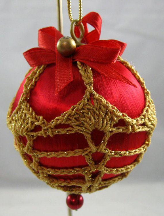 Cubiertos de ganchillo Navidad satén rojo 119