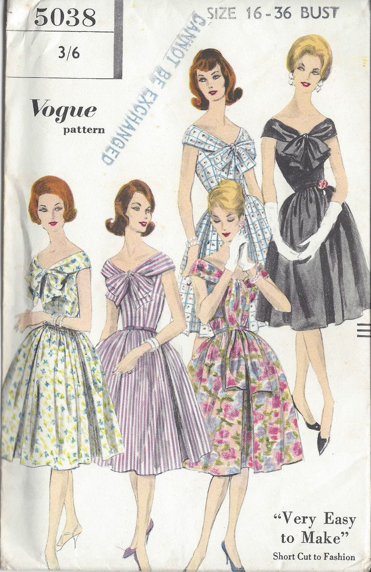 1960s Vintage VOGUE Sewing Pattern B36 DRESS (1050) | eBay