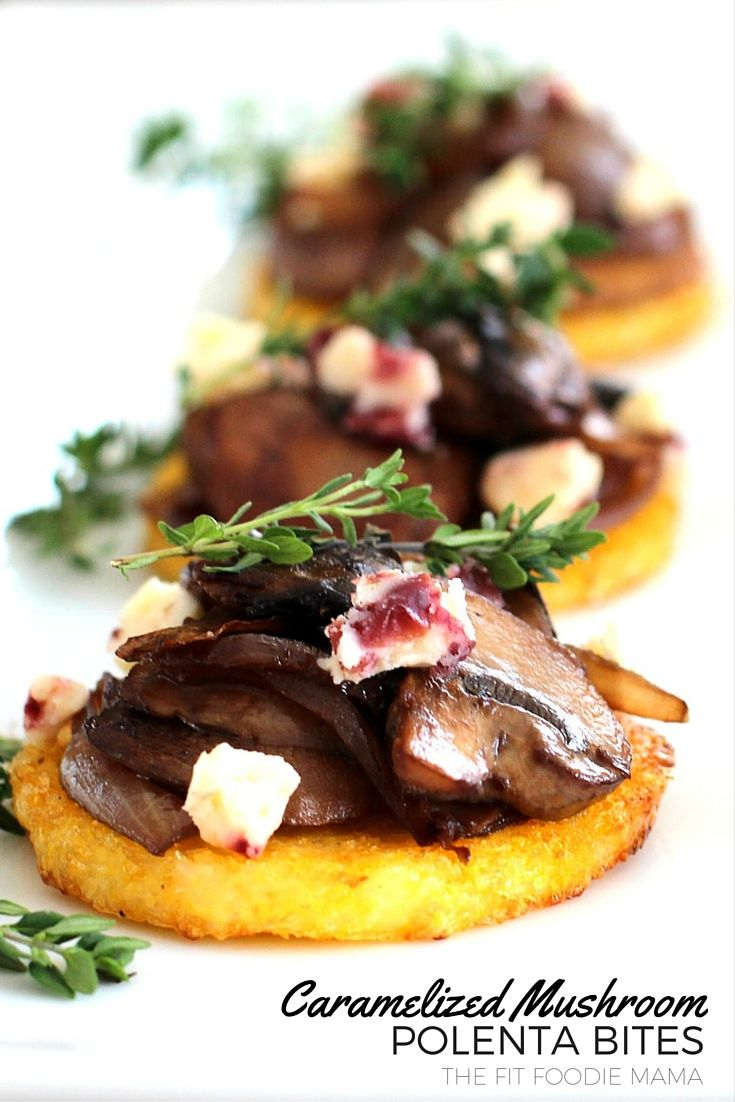 Meatless Monday: Caramelized Mushroom Polenta Bites.  Crispy baked polenta rounds topped with caramelized onions and mushrooms sauteed with cabernet, white stilton cranberry cheese and garnished with thyme.  Gluten free, vegetarian with vegan option.  Perfect for holiday and New Year's Eve parties.