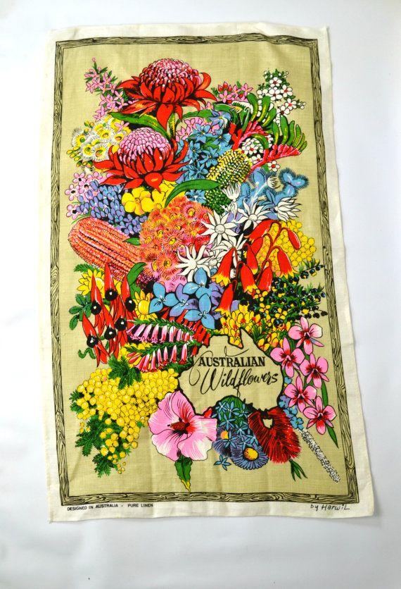 1980s Calender Australia Wildflowers Tea by KrisVintageClothing