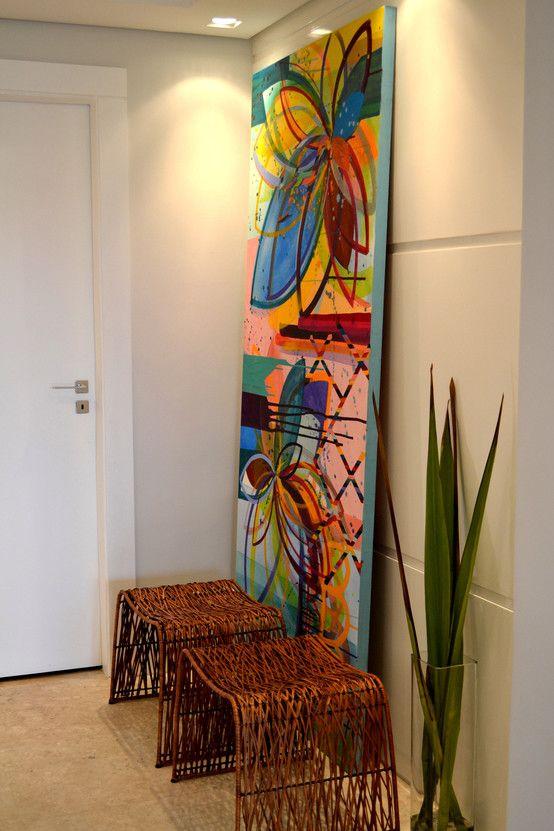 Hall de Entrada : Corredores, halls e escadas modernas por Helô Marques Associados