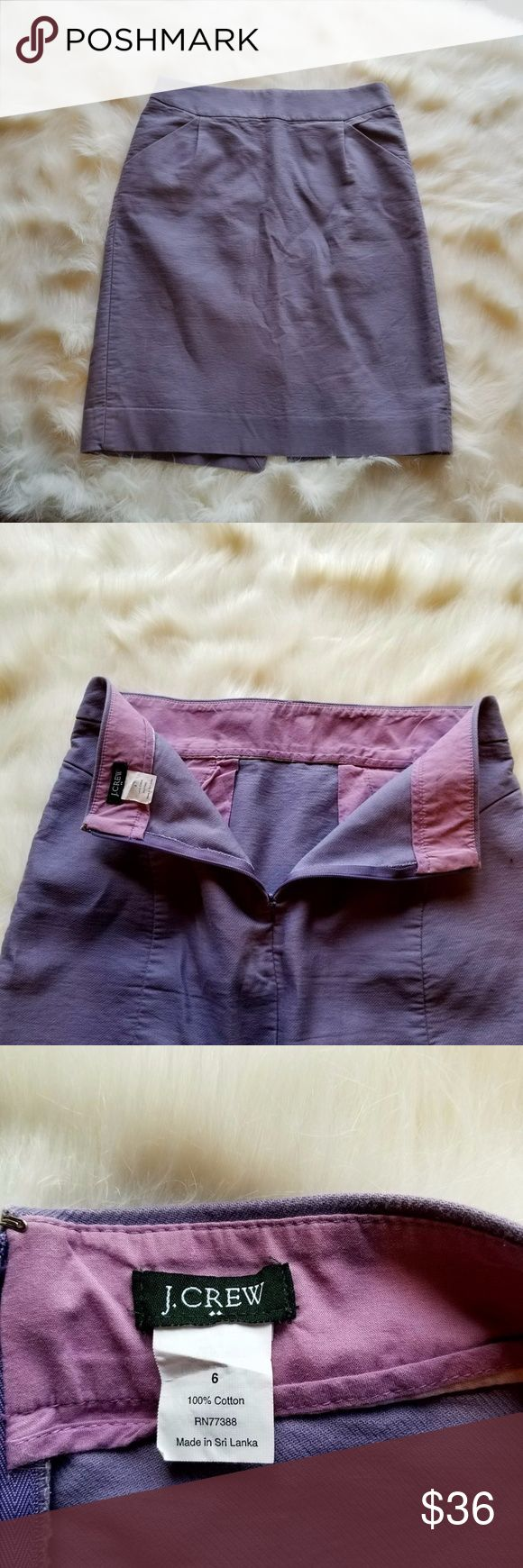 BOGO J.crew  Factory Purple Pencil Skirt 67)This skirt is J.crew Factory. It is a lovely lavender. It has two front pockets, 100% COTTON, zipper on the side, and machine wash cold.  Condition: EUC  Retail: $110 Size: 6 Length: 21  Waist: 30 Make a reasonable offer or add to a bundle for a private offer!  I do not model, mannequin photo upon request. J. Crew Factory Skirts Mini