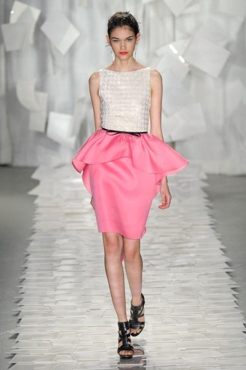 Pretty pink peplum skirt on the runway.: Pink Peplum, Style, Dress, Fashion Week, Jason Wu, Fashion Trends, Spring 2012, Jasonwu, Peplum Skirts