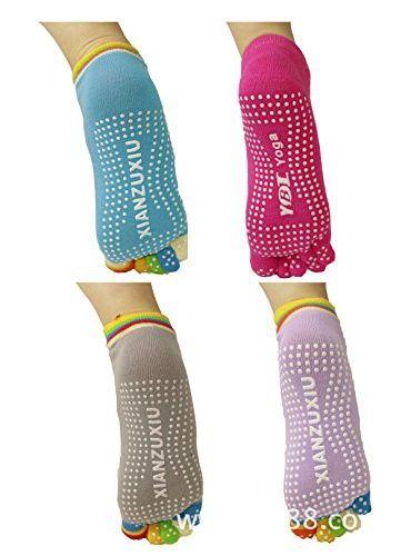 Yoga socks-Skid socks-Workout -Training socks-Skid socks for Women and Men Full toe socks Pack of 4