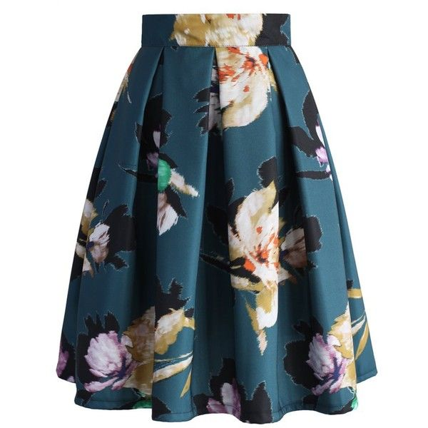 Chicwish Floral Illusion Pleated Skirt in Teal ($47) ❤ liked on Polyvore featuring skirts, bottoms, green, pleated chiffon skirt, green floral skirt, pleated skirt, flower skirt and blue floral skirt