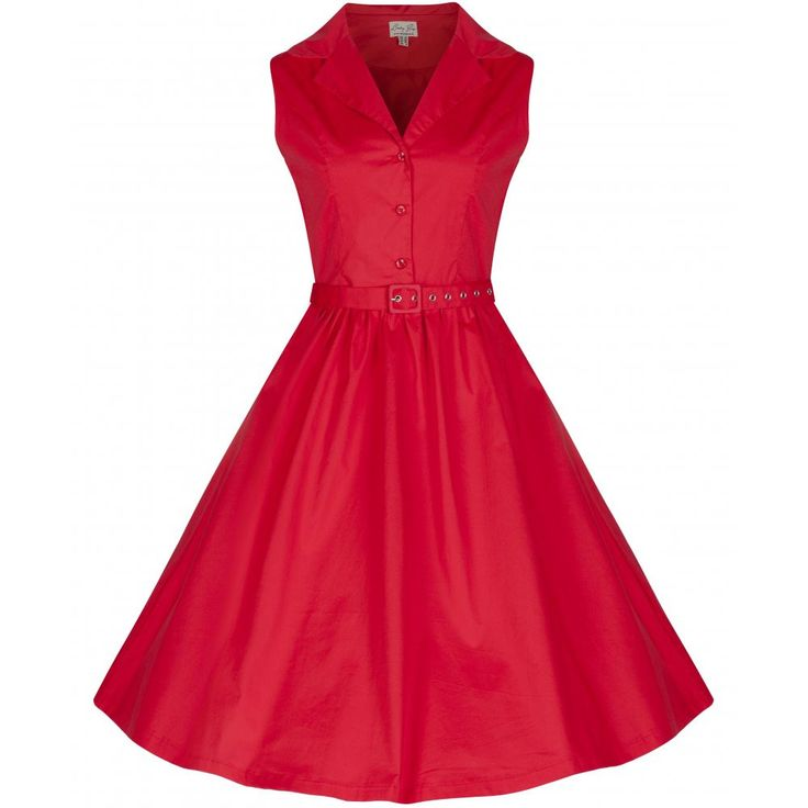Matilda' Red Rockabilly Shirt Dress