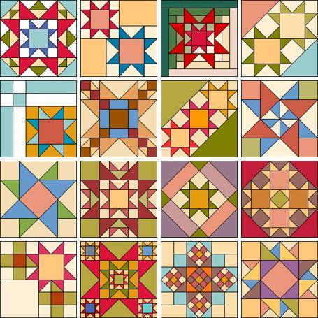 Цветные эскизы для лоскутных работ в геометрической тех… na Stylowi.pl