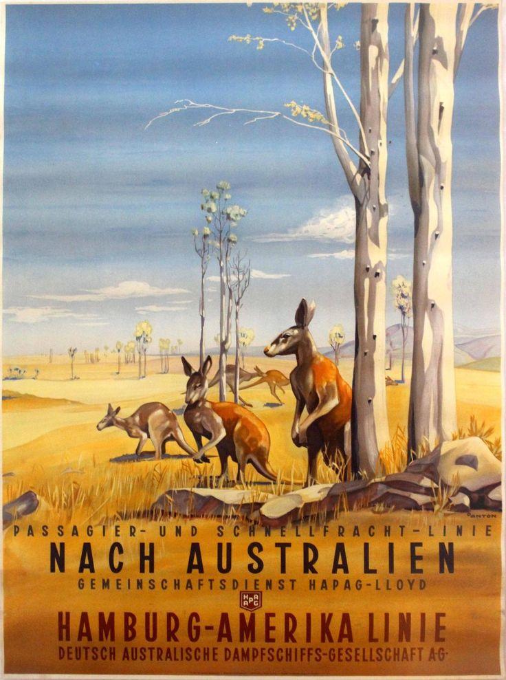 Original Vintage Posters -> Travel Posters -> Australia HAPAG Cruise Line Kangaroo