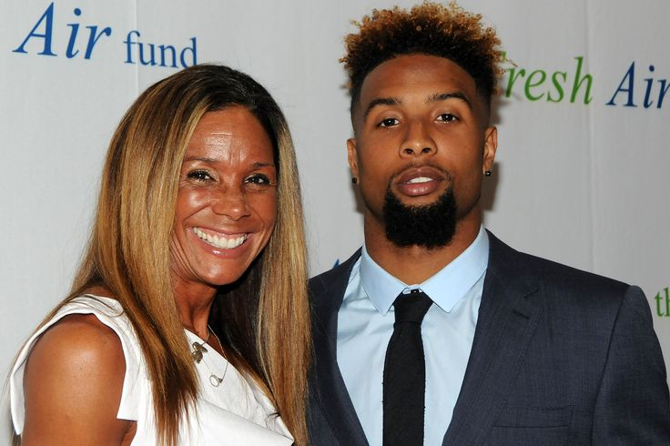 NY Giants wide receiver, Odell Beckman, Jr. with his mother, Heather Van Norman, at Fresh Air Fund gala, May 2015