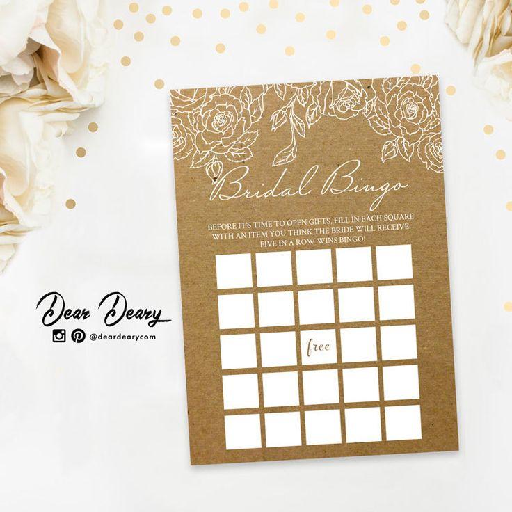 Bridal Shower Bingo, Kraft Paper Bridal Bingo, Funniest Bridal Games,INSTANT DOWNLOAD - C071 by deardeary on Etsy