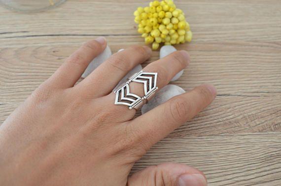 Bohemian Silver Geometric Armor Knuckle Midi Pinky Ring