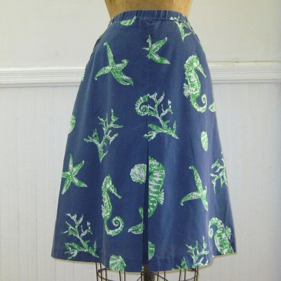 1960s Navy Blue Cotton Skirt with Seahorses by FASHIONRERUN