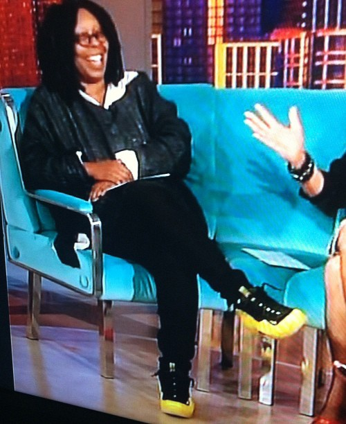 Celebrity Kicks: Whoopi Goldberg in the Electrolime Foamposites. #dope