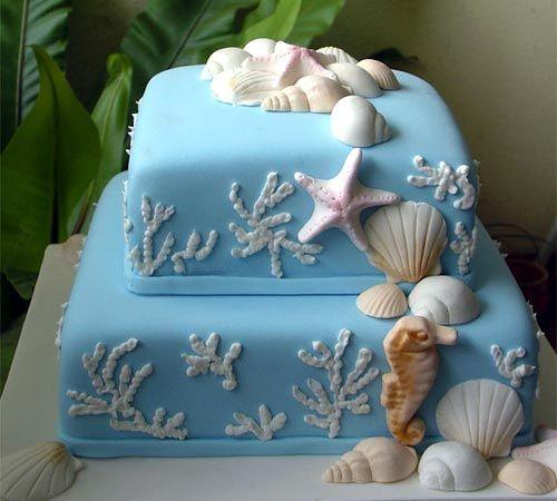 swimming: Beaches Cakes, Sea Cakes, Sea Wedding, Beaches Theme, Blue Wedding Cakes, Seashells Wedding, Theme Wedding, Sea Theme, Beaches Wedding