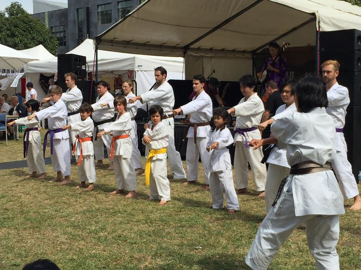 The local Karate school performing at the event