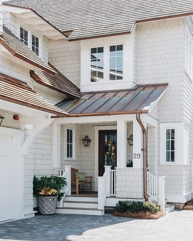 Copper Roof Over Door Cream White Shake Lake Exterior House Colors Paint