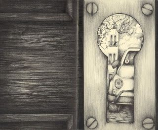 keyhole art | Draw a picture of a keyhole, extending out to the edges of your paper ...
