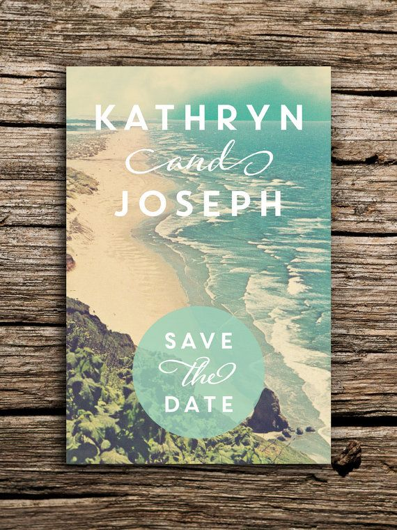 Tranquil Beach Wedding Save the Date Postcard // Destination Boho Wedding Beach Save the Date Beach Invitation Coast Waves Chic Vintage Card
