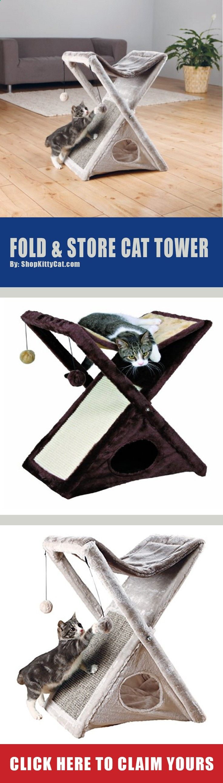 ($37.99-$46.94) Special Price Sale For a LIMITED Time On Our Fold & Store Cat Tower. This Is The Best Price of The Year For This Simple & Easy Kitty Tower. Quit Trying to Make The Perfect Unique Homemade DIY Kittie Tower  & Get This While It's Still On Clearance.