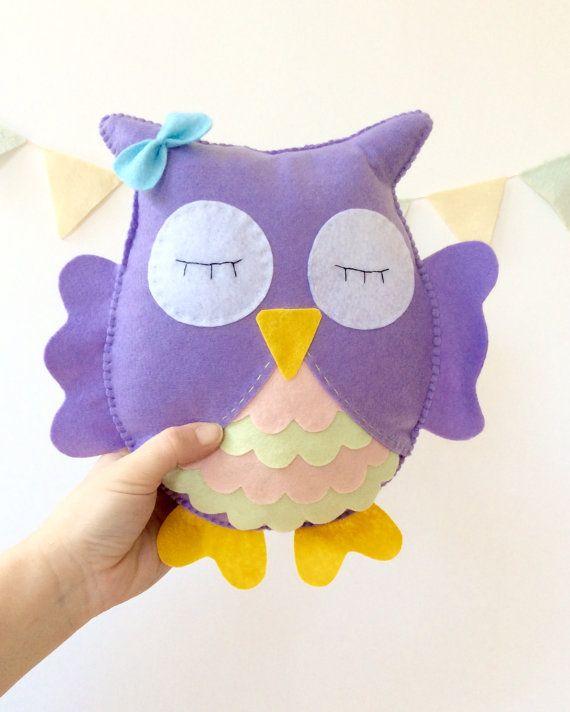 Owl Stuffed Toy, personalized owl, Felt owl decor, Nursery room, owl nursery room, owl plush animal by LaPetiteMelina