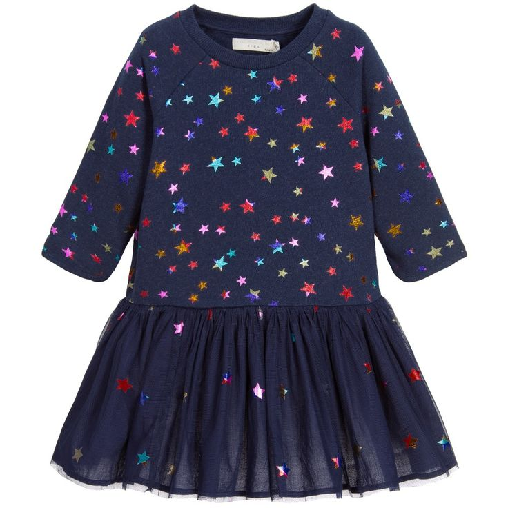 Stella McCartney Kids Girls Navy Blue Star Print 'India' Dress at…