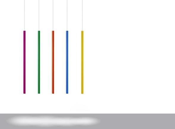 Davide Groppi e Agatha Ruiz de La Prada, edizione esclusiva della lampada a sospensione Miss in versione colore, in cinque tonalità.