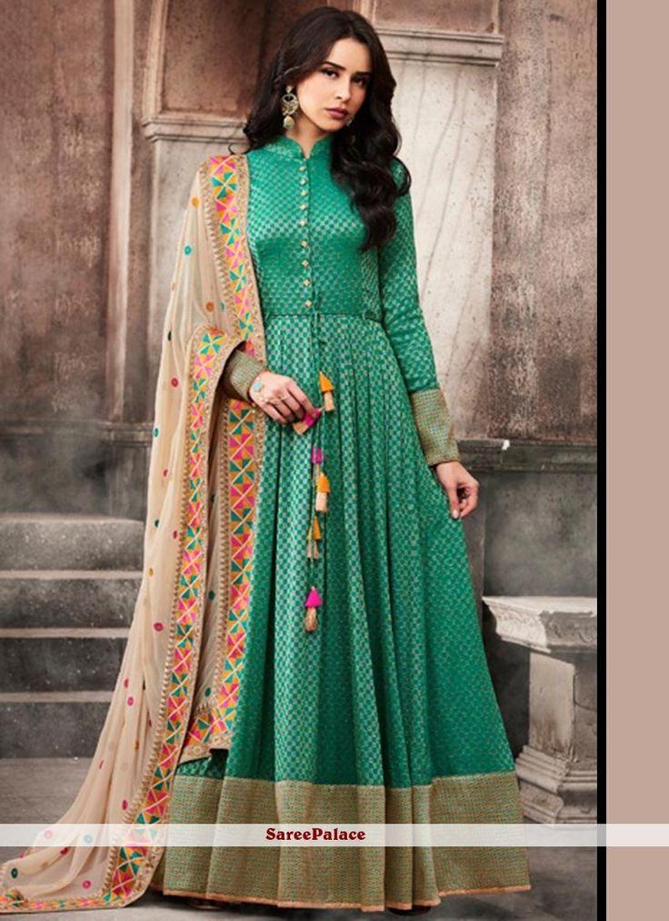 Floral Embroidered Work Jacquard Sea Green Floor Length Anarkali Suit
