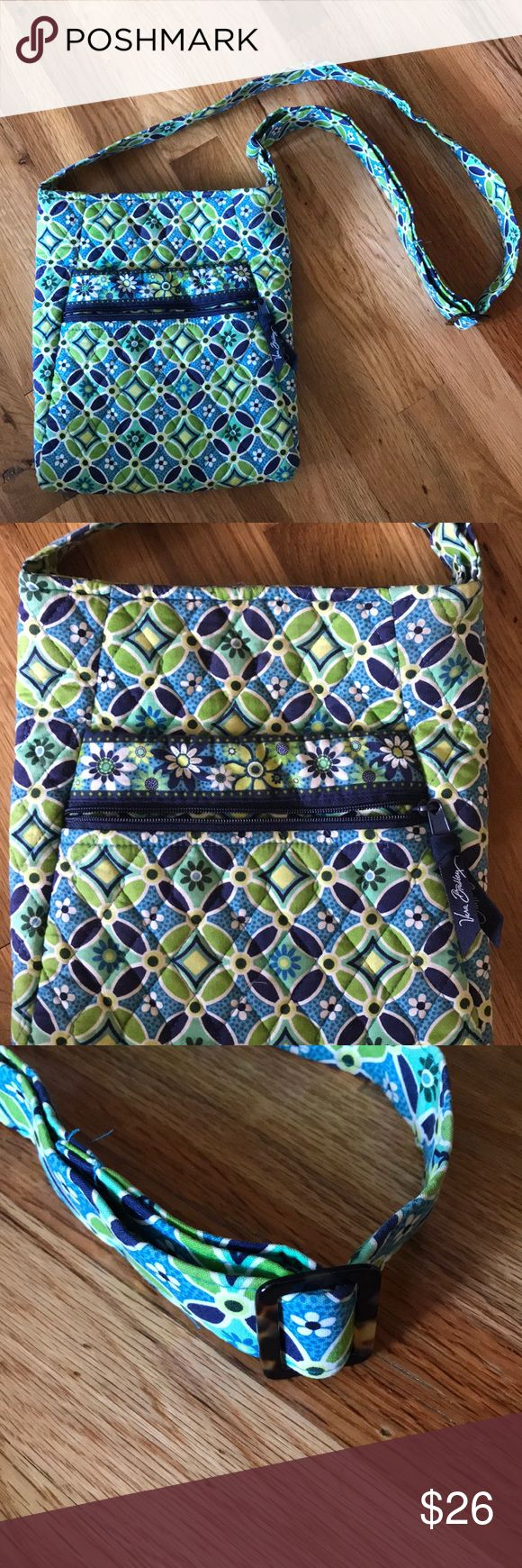 Vera Bradley Crossbody - excellent condition! Fun Blue and green pattern throughout. Adjustable strap. Cute tortoise print detail on the adjusters.open pocket on the inside. Zip closure. 1 open pocket and 1 zipped pocket on the outside. Vera Bradley Bags Crossbody Bags