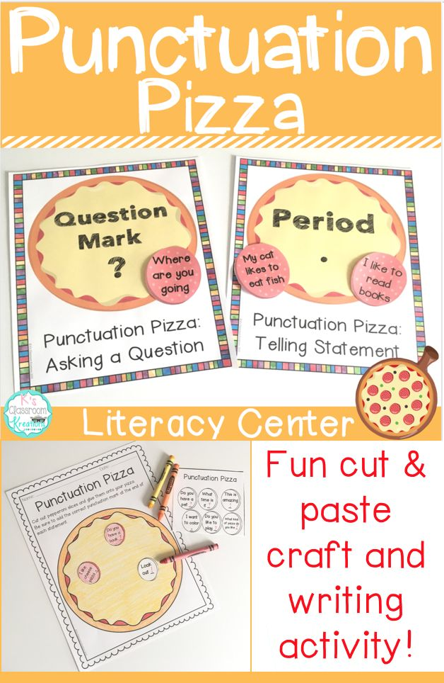 Do your students need to learn about different types of sentences? Practice reading simple sentences and determining missing end punctuation (period, question mark, exclamation point) with this pizza themed literacy center. This activity works well for a Kindergarten, first grade, or second grade writing center or whole group activity. A cut and paste craftivity is also included.