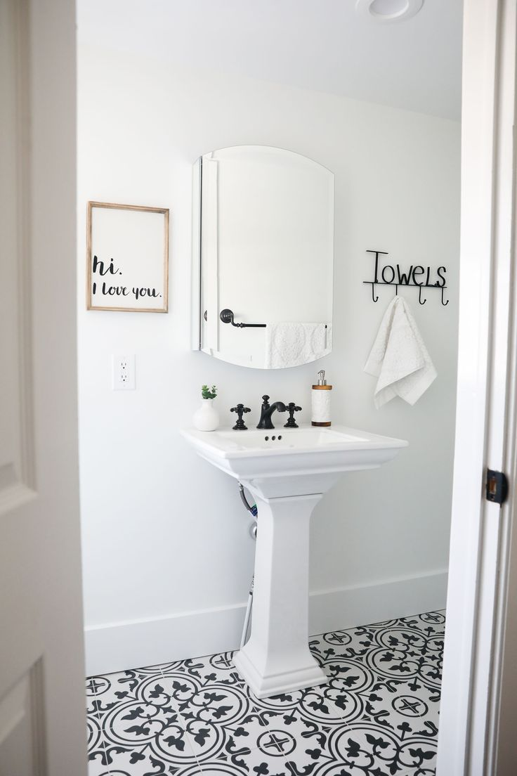"""Black and White Bathroom …I'm so excited to share with you the upstairs black and white bathroom'before and after' from our 1888 fixer upper! We had a little open house last weekend before we officially put it on the market and I have to say, I think everyone that walked upstairs said """"I love the …"""