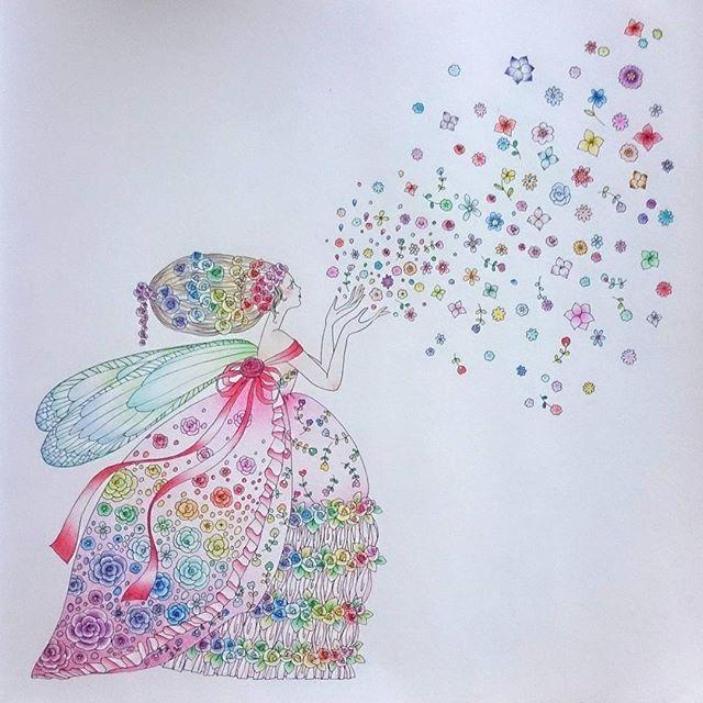 Instagram media s_a.0627 - 何とか完成!お花が細かい!笑  とってもレインボー。   #大人の塗り絵   #おとなの塗り絵  #お姫さまと妖精のぬり絵ブック  #コロリアージュ   #田代知子  #色鉛筆   #塗り絵