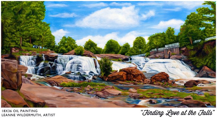"""""""Finding Love At The Falls"""", 18x36 oil on canvas. It's been on display in Greenville, South Carolina for the last 2 years, now available for purchase. It's a bit of a scavenger hunt - several hearts are hidden in nature throughout this piece! One of my personal favorites. PM for more information. Enjoy!"""
