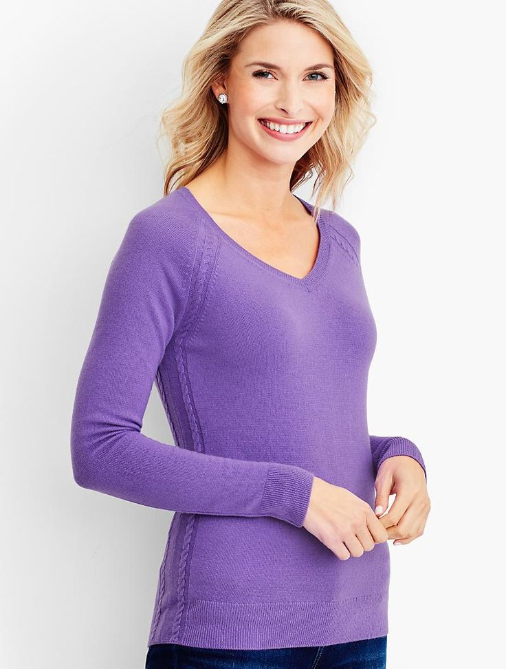 Cashmere Cable V-Neck Sweater - Talbots