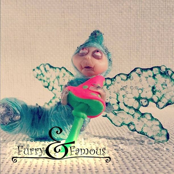 #furry_and_famous #fur #polymerclay #arts  #coffee #wool #thread #sculpture #miniature  #bigeyes #cute #caterpillar #transparent #green #mint #insect #acid #mushroom