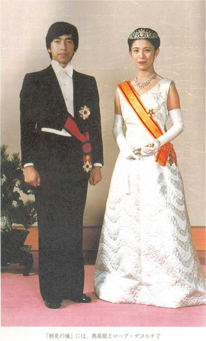 Prince and Princess Takamado at their wedding. They were the most widely-traveled Japanese Royals. The Prince died suddenly of heart failure at age 47 while playing squash. The Princess still carries out Royal engagements.